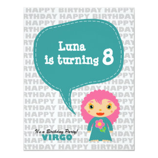 "Virgo Kids Party Invitation 4.25"" X 5.5"" Invitation Card"