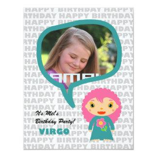 "Virgo Kids Party Invitation with Photo 4.25"" X 5.5"" Invitation Card"