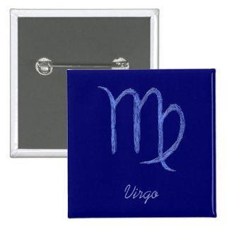 Virgo. Muestra astrológica del zodiaco. Azul Pin Cuadrado