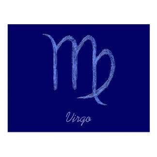 Virgo. Muestra astrológica del zodiaco. Azul Tarjetas Postales