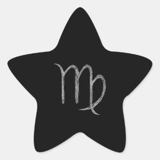 Virgo. Muestra de la astrología del zodiaco. Negro Pegatina En Forma De Estrella