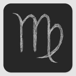 Virgo. Muestra de la astrología del zodiaco. Negro Pegatina Cuadrada
