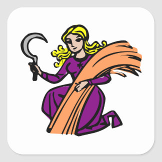 Virgo Old Woodcut Square Sticker