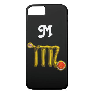 VIRGO ORANGE AGATE GOLD ZODIAC SIGN JEWEL MONOGRAM iPhone 7 CASE