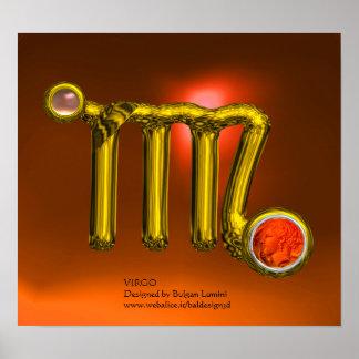 VIRGO/ORANGE,GREY AGATE GOLD ZODIAC SIGN JEWEL