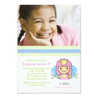 "Virgo Photo Birthday Party Invitation 5"" X 7"" Invitation Card"
