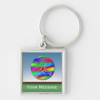 Virgo Rainbow Running Girl Luggage Tag Baggage Tag Silver-Colored Square Keychain