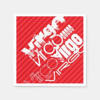 Virgo; Rayas del rojo del escarlata Servilletas Desechables
