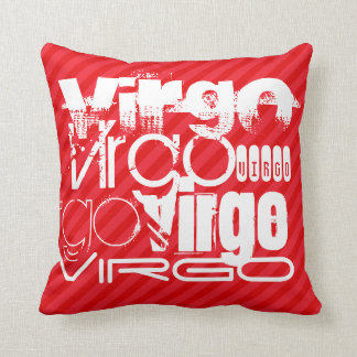 Virgo; Scarlet Red Stripes Throw Pillow