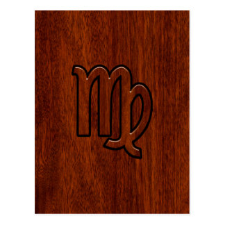 Virgo Sign in Mahogany wood style Postcard