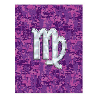 Virgo Sign on Pink Fuchsia Digital Camouflage Postcard