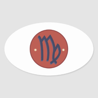 Virgo Sign Oval Sticker