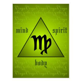 Virgo Triangle Mind Body Spirit Holistic Green Postcard