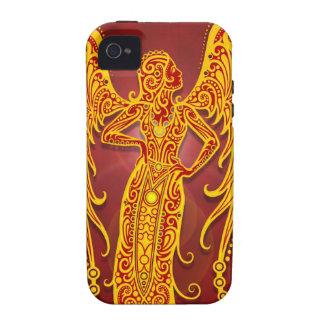Virgo tribal rojo de oro complejo, firmemente vibe iPhone 4 carcasa
