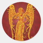 Virgo tribal rojo de oro complejo pegatina redonda