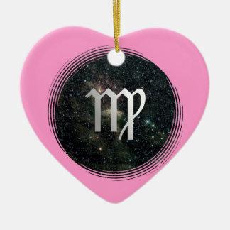 Virgo Virgin Zodiac Universe Birthday Pink Heart Ceramic Ornament