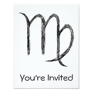 "Virgo. Zodiac Astrological Sign. 4.25"" X 5.5"" Invitation Card"