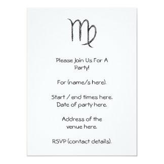 Virgo. Zodiac Astrology Sign. Black. 6.5x8.75 Paper Invitation Card