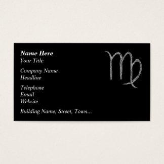 Virgo. Zodiac Astrology Sign. Black. Business Card