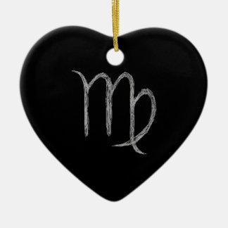 Virgo. Zodiac Astrology Sign. Black. Ceramic Ornament