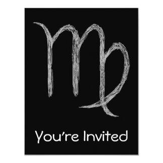 "Virgo. Zodiac Astrology Sign. Black. 4.25"" X 5.5"" Invitation Card"