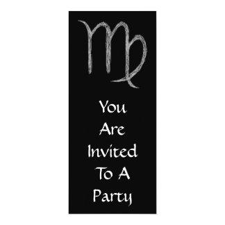"Virgo. Zodiac Astrology Sign. Black. 4"" X 9.25"" Invitation Card"