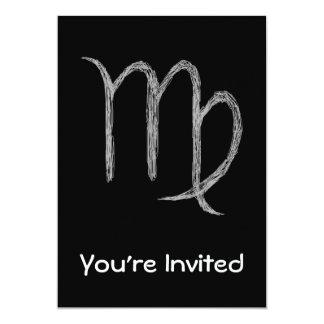"Virgo. Zodiac Astrology Sign. Black. 5"" X 7"" Invitation Card"