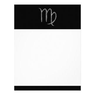 Virgo. Zodiac Astrology Sign. Black. Customized Letterhead