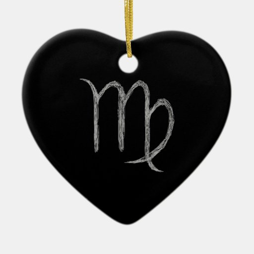 Virgo. Zodiac Astrology Sign. Black. Double-Sided Heart Ceramic Christmas Ornament