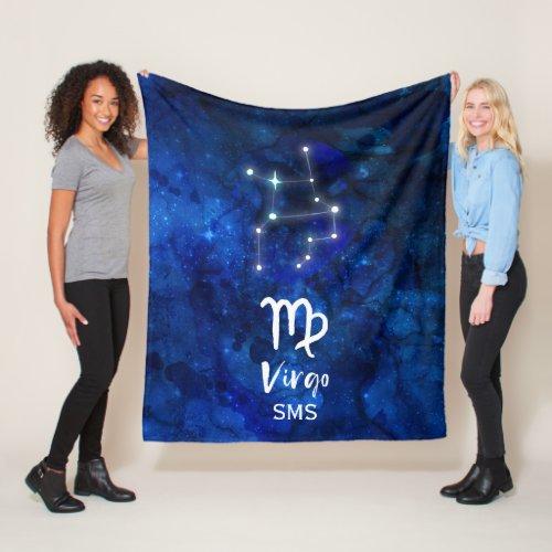 Virgo Zodiac Constellation Blue Galaxy Monogram Fleece Blanket
