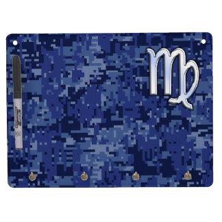 Virgo Zodiac on Navy Blue Digital Camouflage Dry Erase Board With Keychain Holder