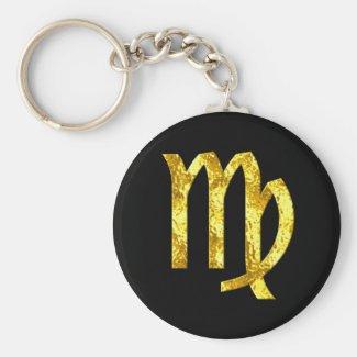 Virgo Zodiac Sign Black Gold Symbol Keychain