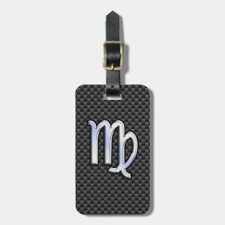 Virgo Zodiac Sign Charcoal Carbon Fiber Print Tags For Luggage