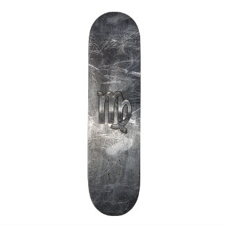 Virgo Zodiac Sign in Grunge Distressed Style Decor Skateboard