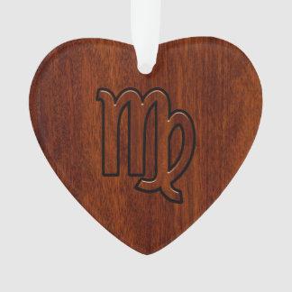 Virgo Zodiac Sign in Mahogany wood style Ornament