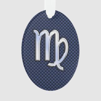 Virgo Zodiac Sign on Navy Blue Carbon Fiber Style Ornament