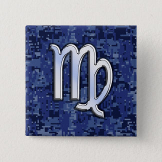 Virgo Zodiac Sign on Navy Blue Digital Camo Decor Pinback Button