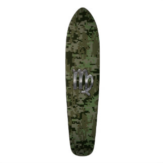 Virgo Zodiac Sign on Olive Green Digital Camo Skateboard Deck