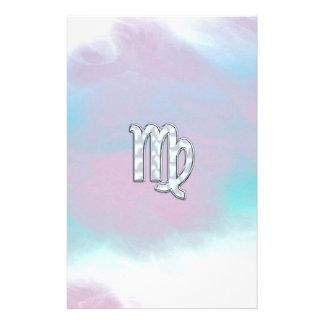 Virgo Zodiac Sign on Pastels Nacre Style Print Stationery