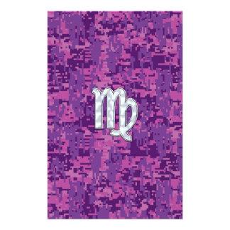 Virgo Zodiac Sign on Pink Digital Camouglage Stationery