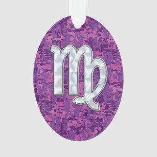 Virgo Zodiac Sign on Pink Fuchsia Digital Camo Ornament
