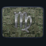 """Virgo Zodiac Sign on Woodland Digital Camo MacBook Pro Sleeve<br><div class=""""desc"""">A Virgo Zodiac Sign on Digital Camouflage background. A military hunter grunge style design for a great custom birthday gift idea. Embroidery designs are available in a selection of popular color options. Use the &quot;Ask this Designer&quot; link to contact us with your special design requests or for some assistance with...</div>"""