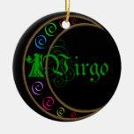 Virgo Zodiac Sign Double-Sided Ceramic Round Christmas Ornament