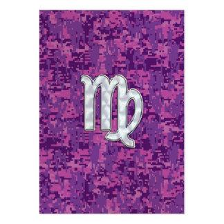 Virgo Zodiac Sign Pink Fuchsia Digital Camouflage Large Business Card