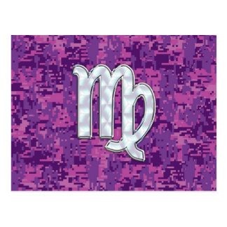 Virgo Zodiac Sign Pink Fuchsia Digital Camouflage Postcard