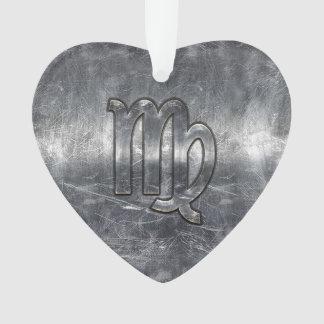 Virgo Zodiac Sign Silver Grunge Distressed Style Ornament