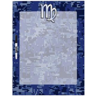 Virgo Zodiac Silver Sign on Navy Blue Digital Camo Dry Erase Board