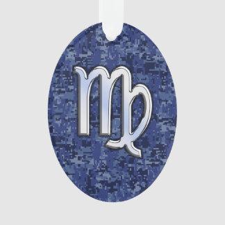 Virgo Zodiac Silver Sign on Navy Blue Digital Camo Ornament