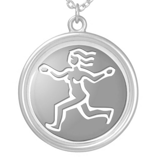 Virgo Zodiac Star Sign Premium Silver Round Pendant Necklace