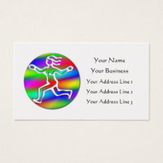 Virgo Zodiac Star Sign Rainbow Running Girl Gold Business Card at Zazzle